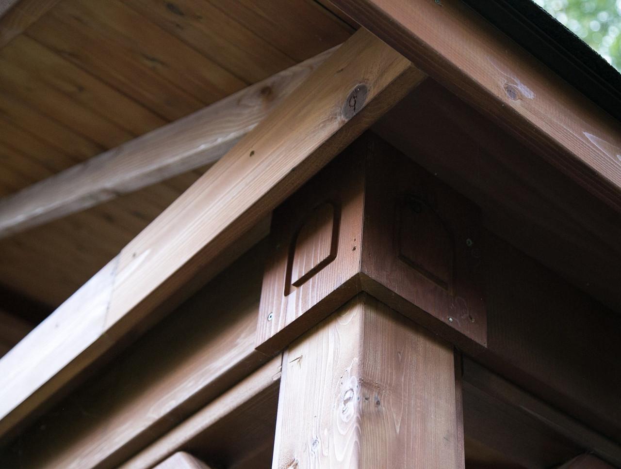 Rustic Details on Open Gable Cedar Pavilion, Sewickley, PA