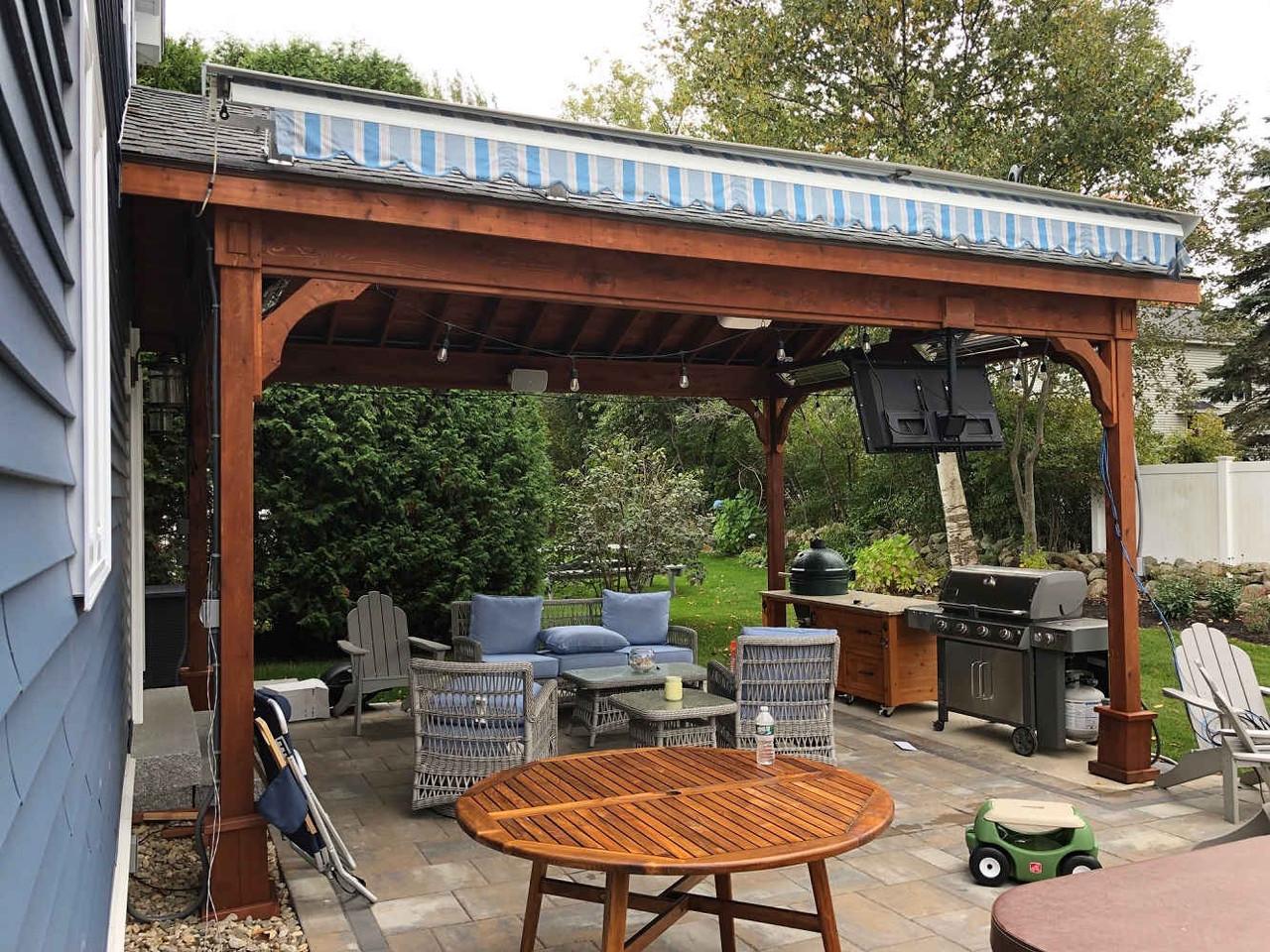 Outdoor Living Under a Cedar Patio Cover, York, ME