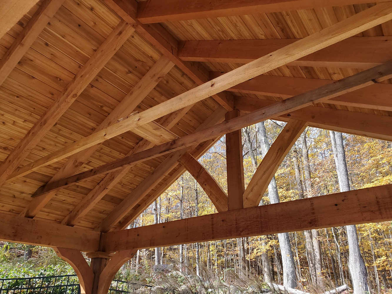 Maple-Stained Underside of Open Gable Grand Cedar Pavilion, New Milford, CT