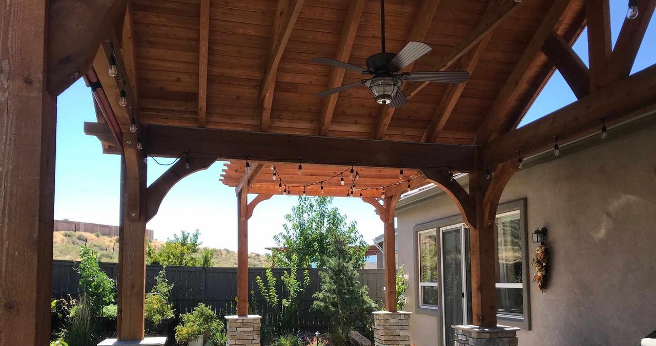 Underside of14x14 Grand Cedar Pavilion and Attached 9x10 Classic Cedar Pergola, Reno, NV