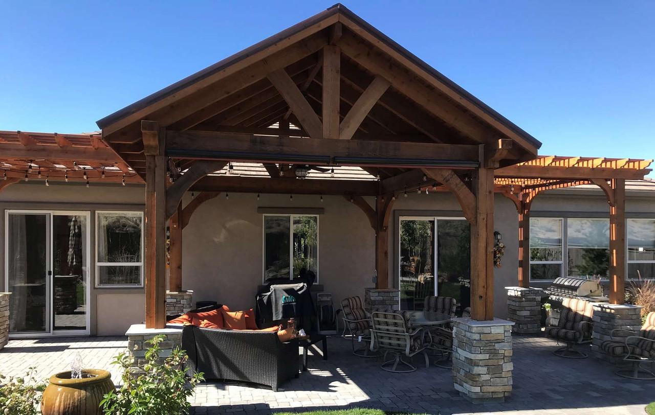 14x14 Grand Cedar Pavilion with Two Attached 9x10 Classic Cedar Pergolas, Reno, Nevada