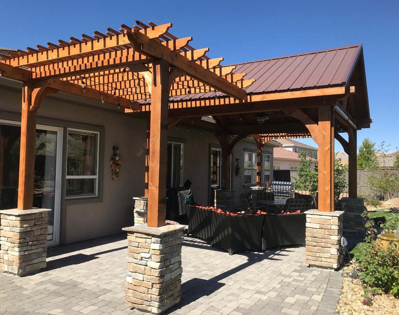 Rough Sawn Posts on 9x10 Classic Cedar Pergola Attached to14x14 Grand Cedar Pavilion, Reno, NV