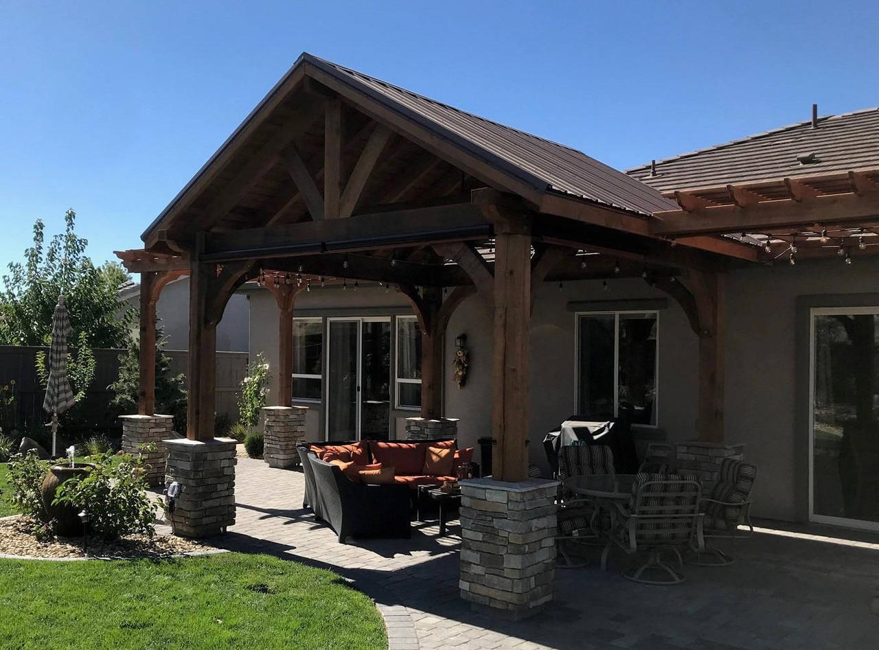 14x14 Grand Cedar Pavilion with Two Attached 9x10 Classic Cedar Pergolas, Reno, NV