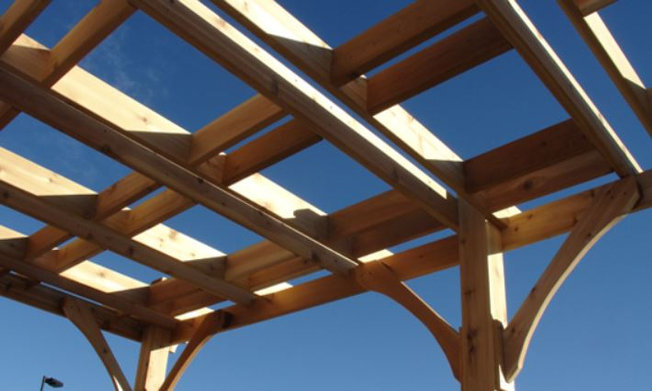 close up of Everlynn Cedar pergola kit timbers and rafters