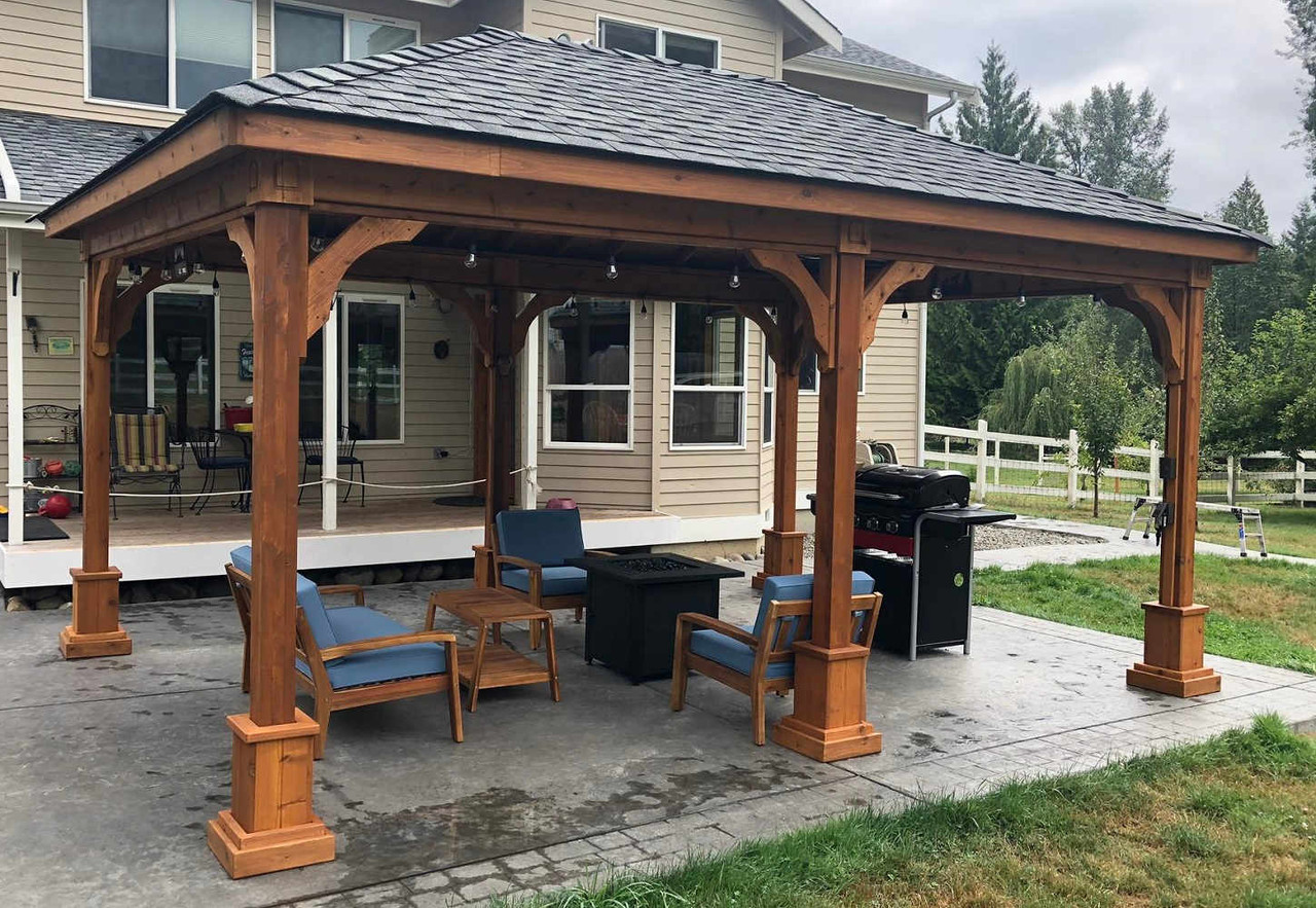 12x18 Traditional (Hip) Roof Cedar Pavilion Kit, Snohomish, WA