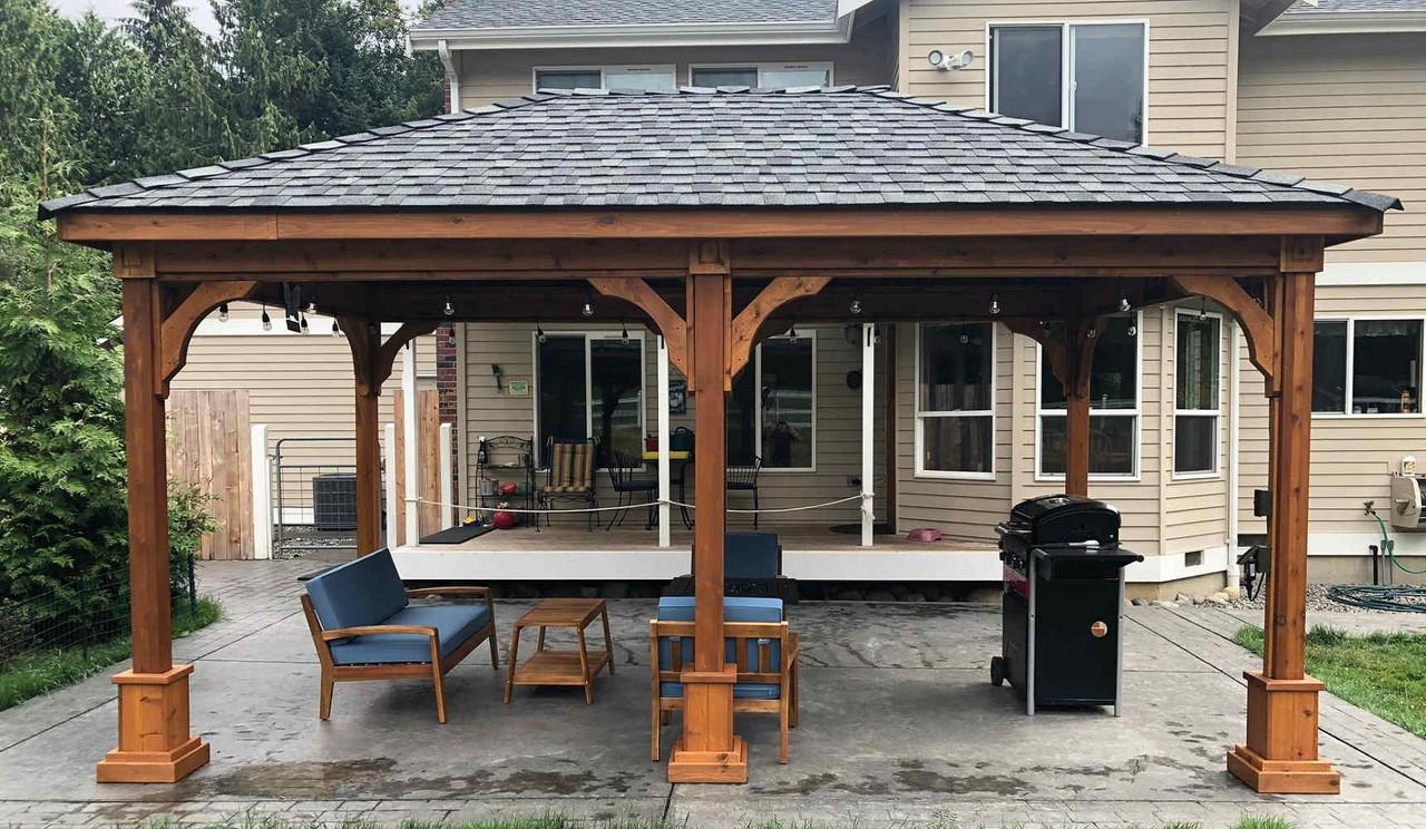 12x18 Traditional (Hip) Roof Cedar Pavilion Kit, Snohomish, Washington
