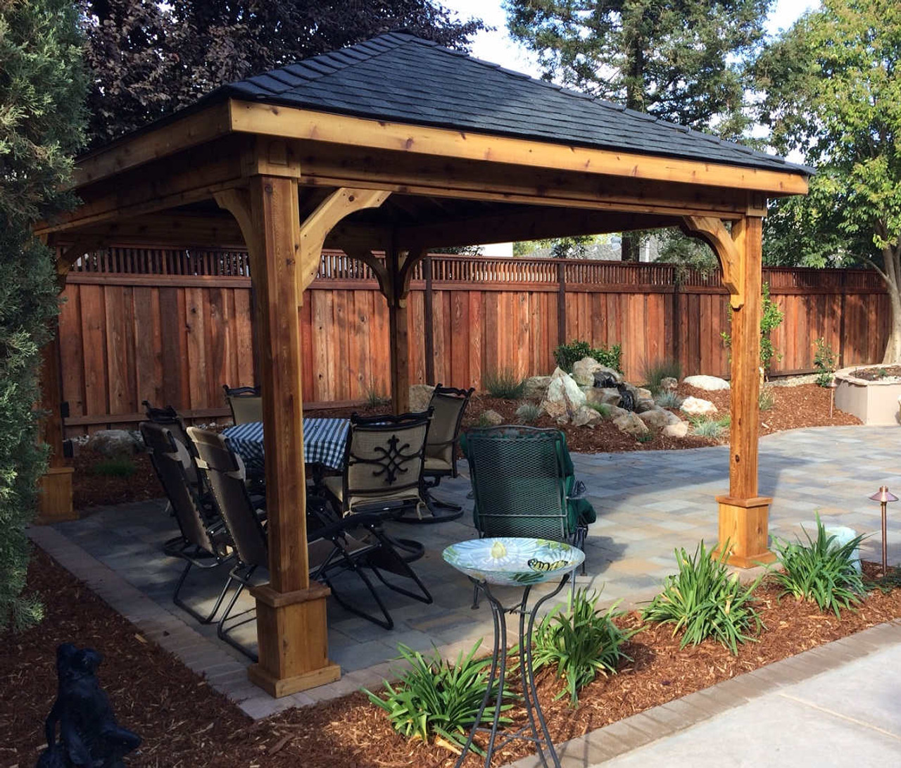 11x15 Traditional (Hip) Roof Cedar Pavilion Kit, Davis, CA
