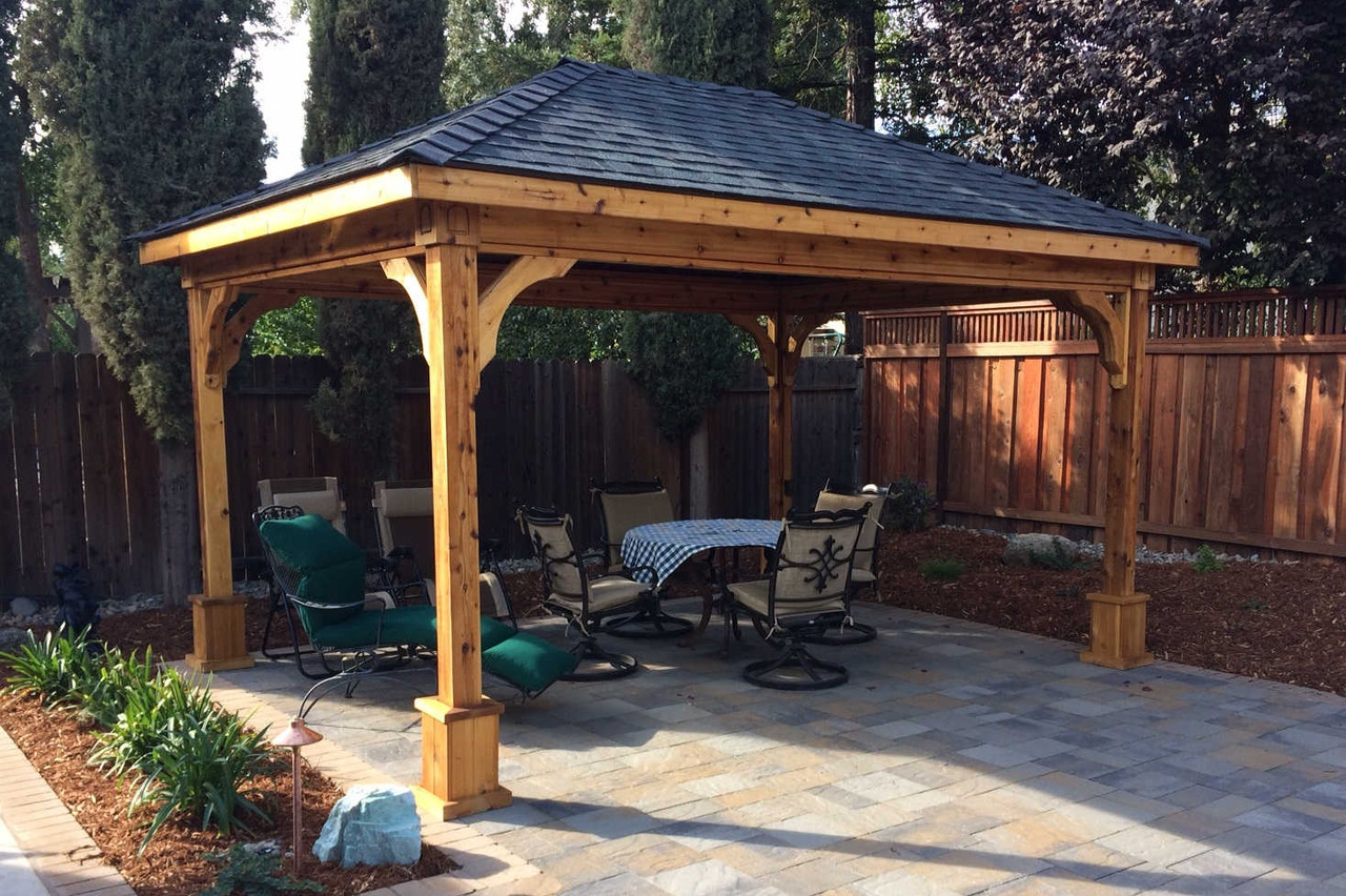 11x15 Traditional (Hip) Roof Cedar Pavilion Kit, Davis, California