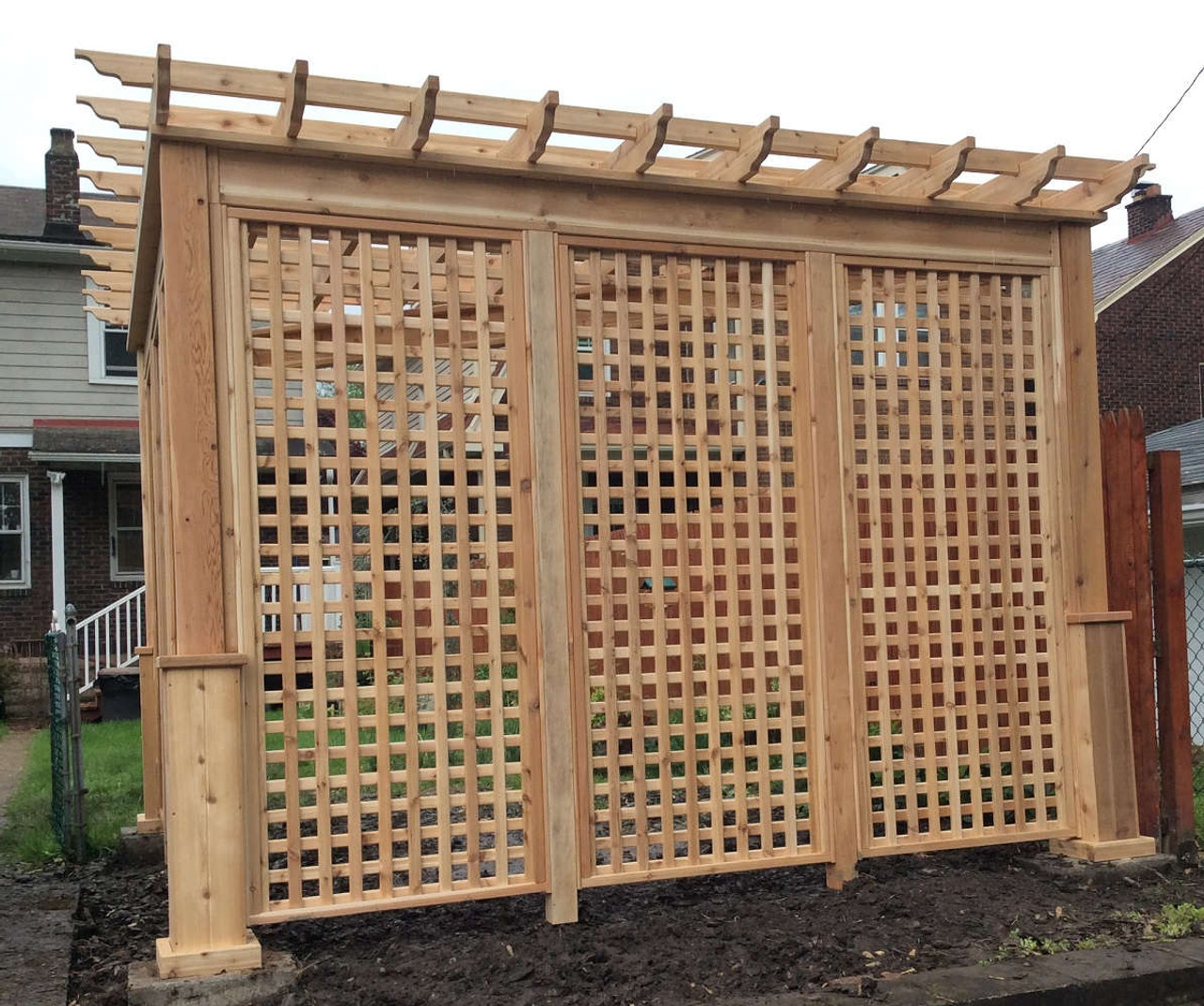Lattice Privacy Wall on Triangular Serenity Cedar Pergola Kit, Pittsburgh, PA