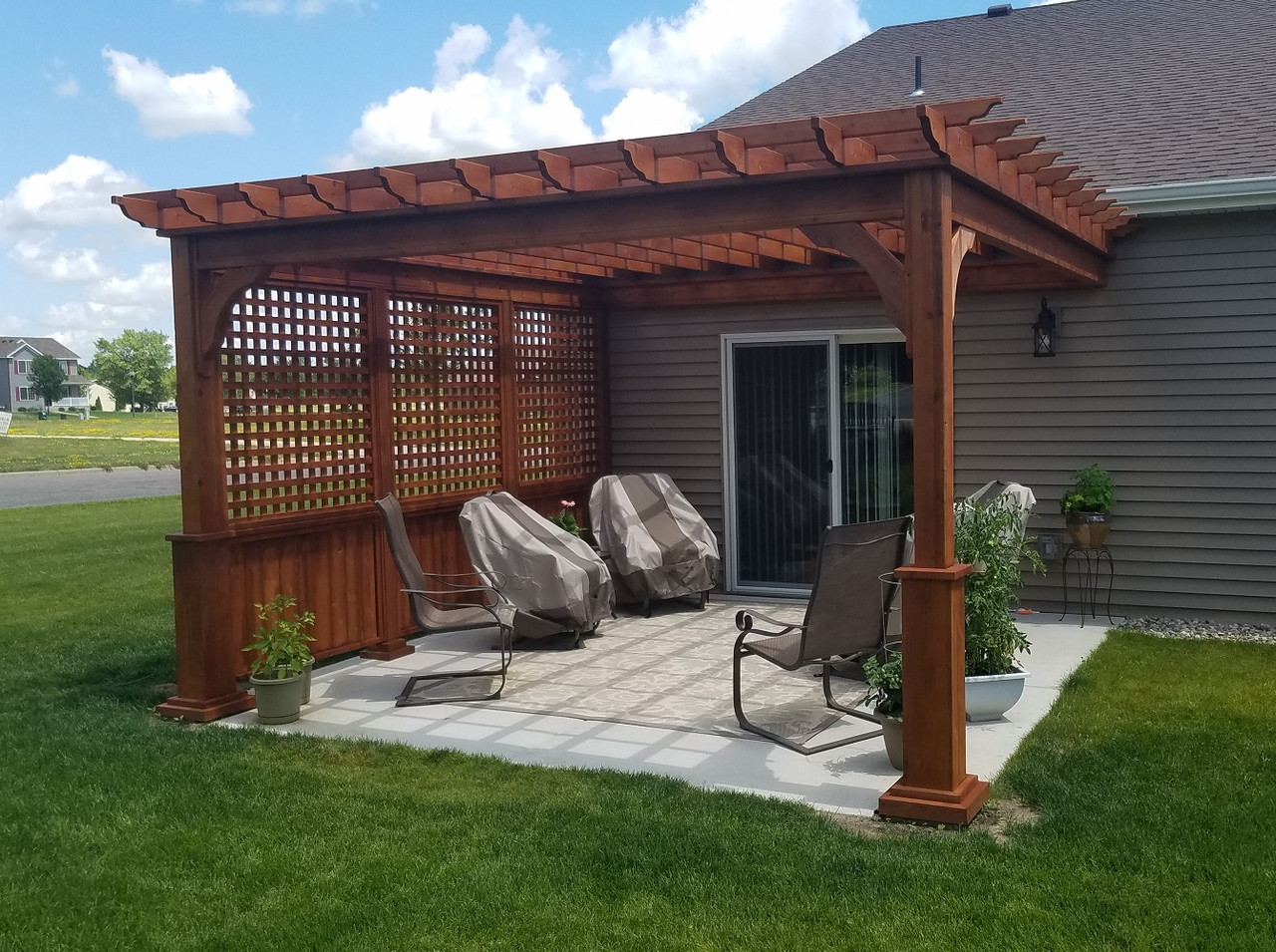 13x13 Serenity Cedar Wall Mounted Pergola with Lattice Privacy Wall, Sartell, Minnesota