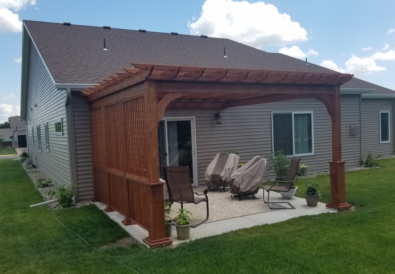 13x13 Serenity Cedar Wall Mounted Pergola with Lattice Privacy Wall, Sartell, MN