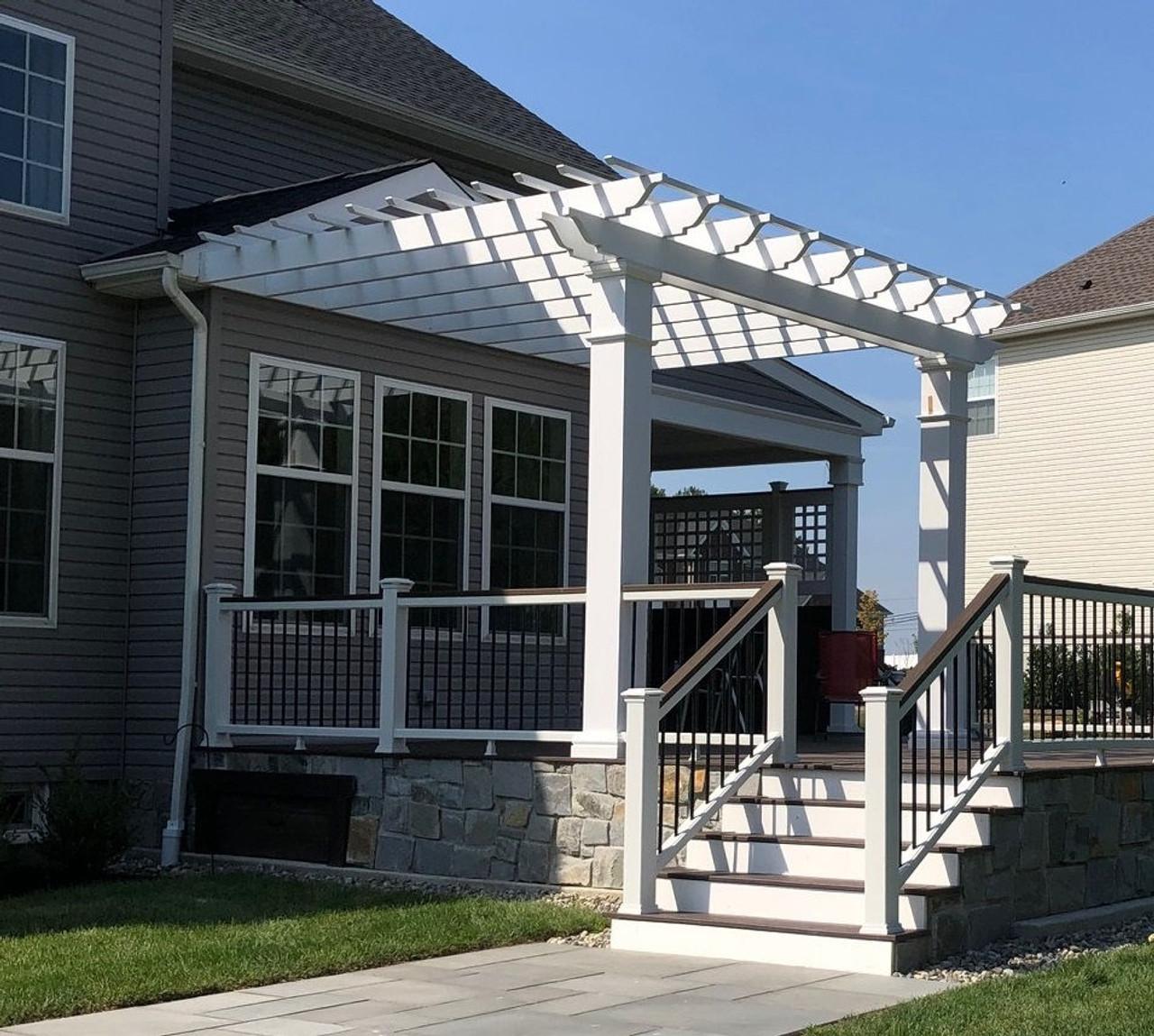 15x13 Structural Fiberglass Wall Mounted Pergola Kit, Robbinsville, New Jersey
