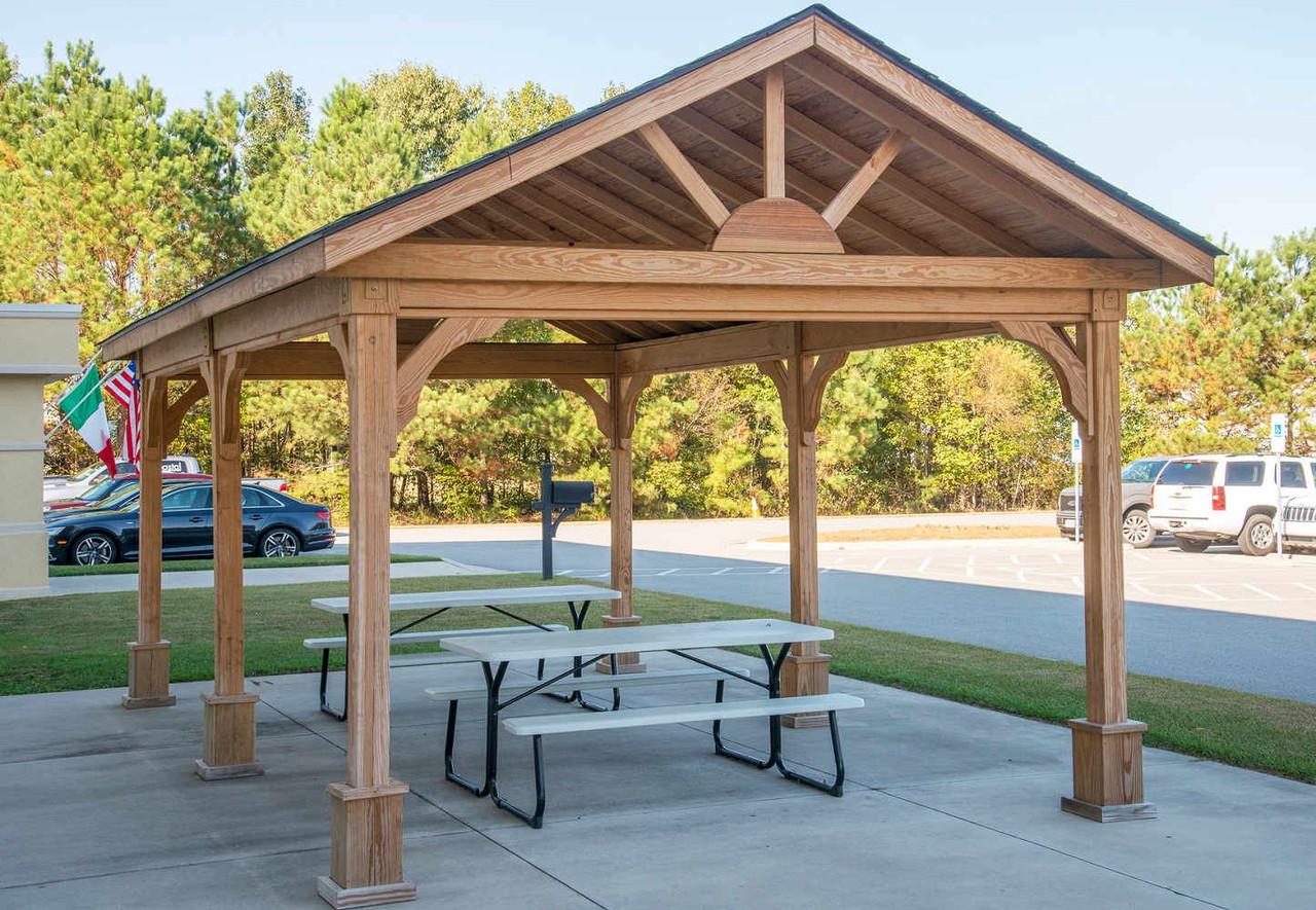 12x20 Gable Roofed Pressure Treated Pine Pavilion Kit, Battleboro, NC