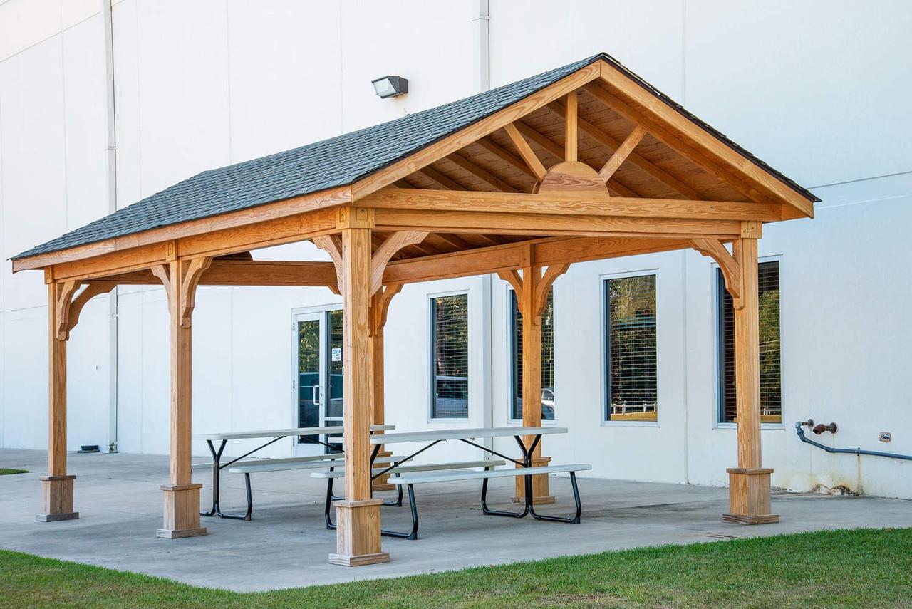 12x20 Gable Roofed Pressure Treated Pine Pavilion Kit, Battleboro, North Carolina