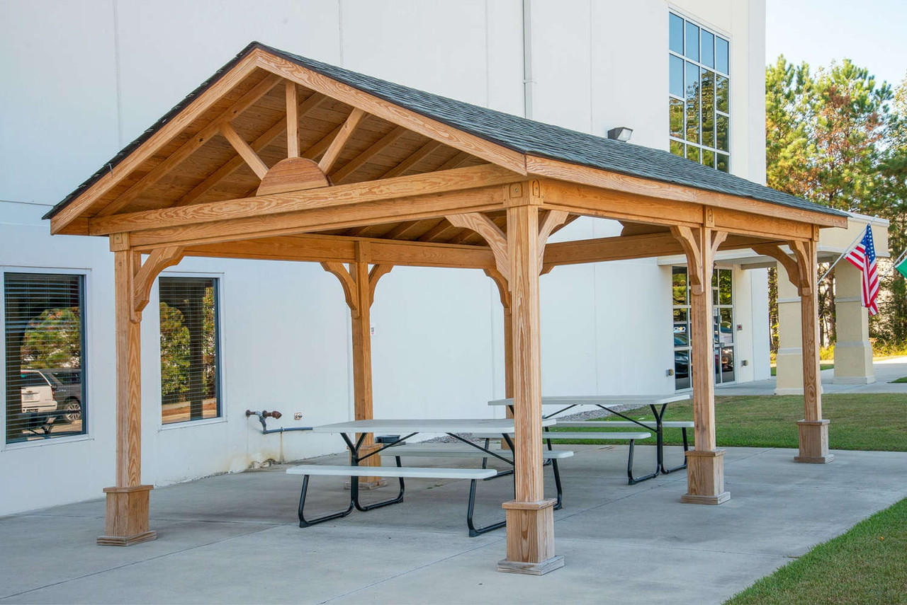 Open Air Break Room Under a 12x20 Gable Roofed Pressure Treated Pine Pavilion, Battleboro, NC