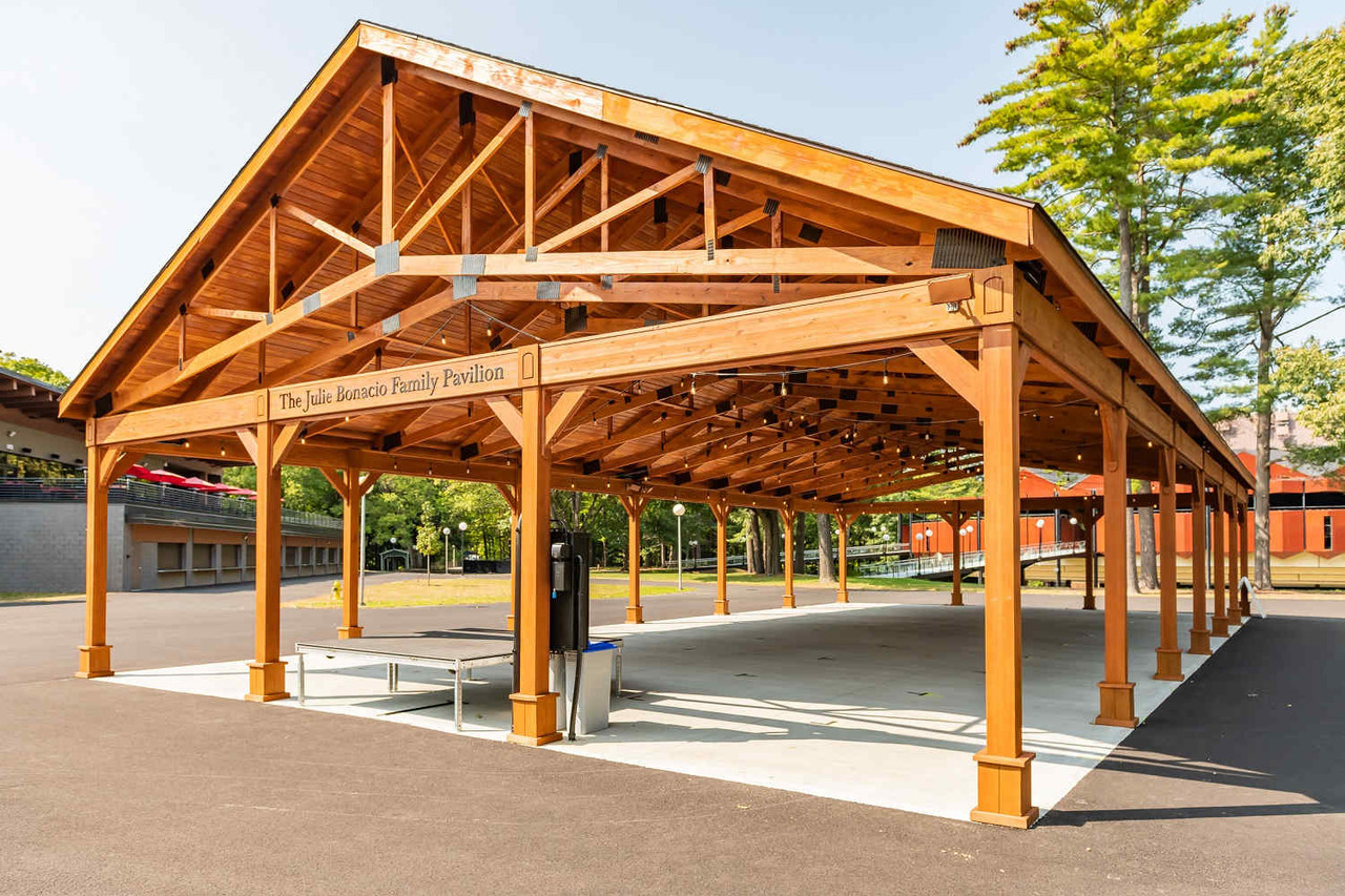 Huge Pressure Treated Pine Pavilion for Performing Arts Center, Saratoga Springs, NY