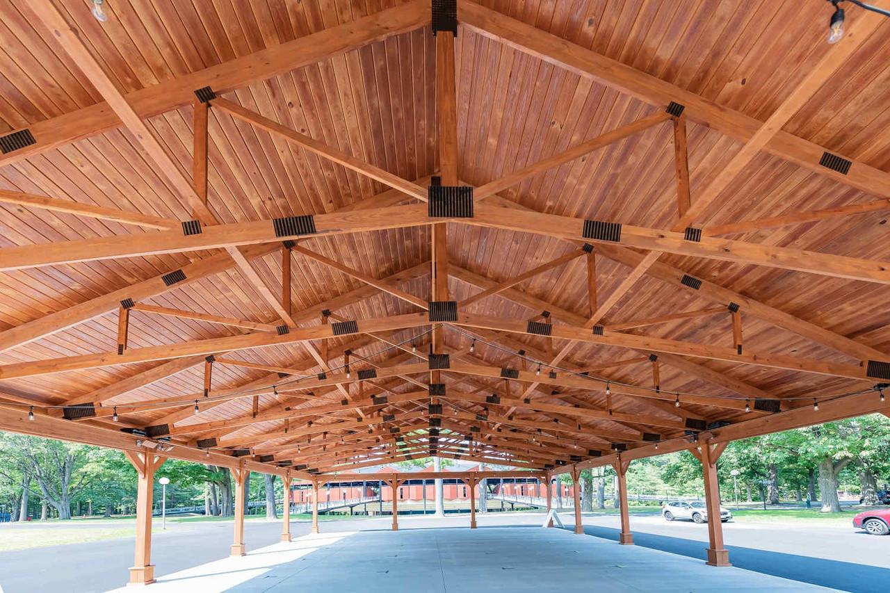 Black Powder-Coated Truss Plates Inside Pressure Treated Pine Pavilion, Saratoga Springs, NY