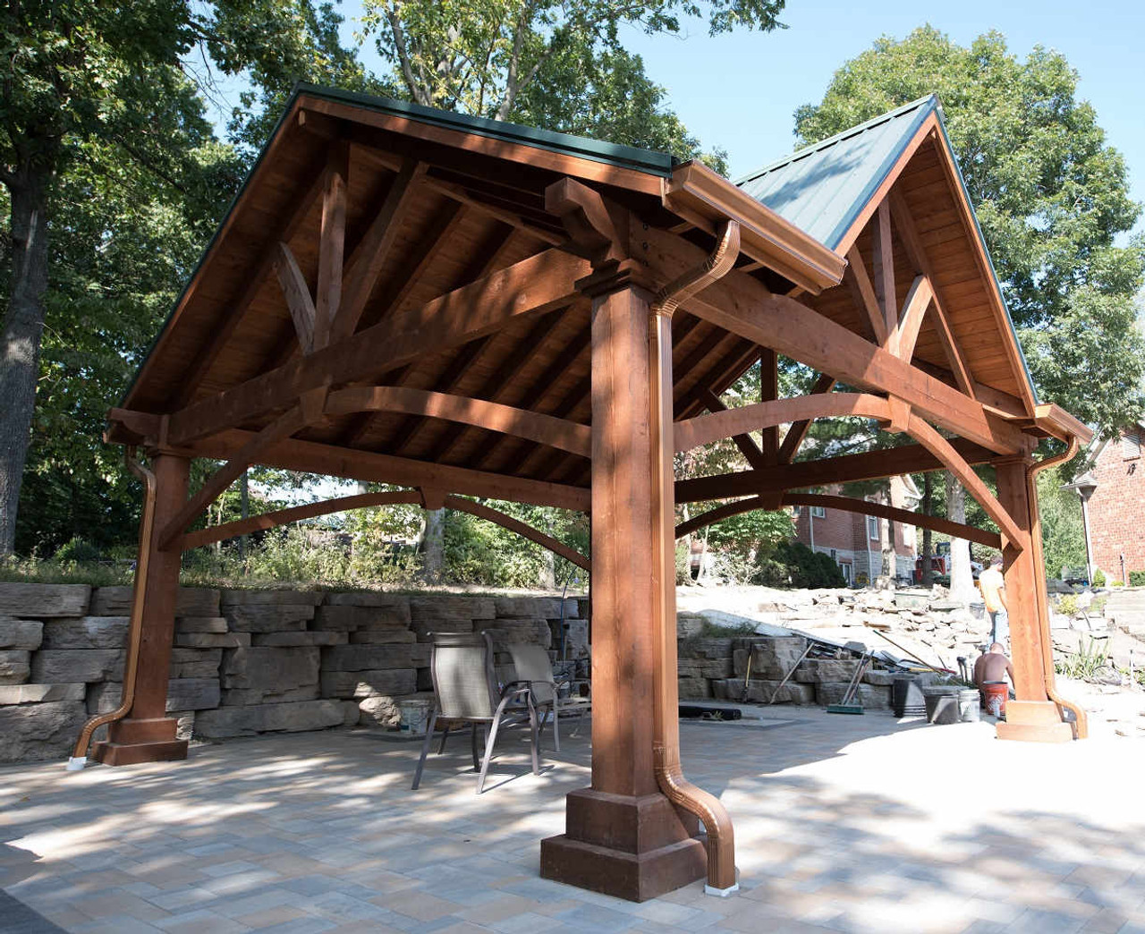 10 inch by 10 inch Rough Sawn Posts on 20x20 Grand Cedar Pavilion with Third Gable, St. Charles, MO