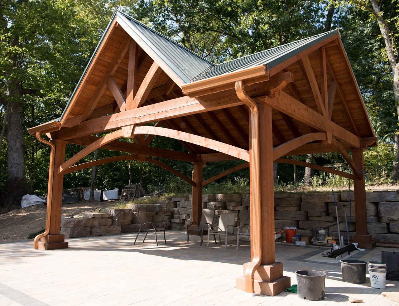 20x20 Grand Cedar Pavilion Kit with Third Gable, St. Charles, Missouri