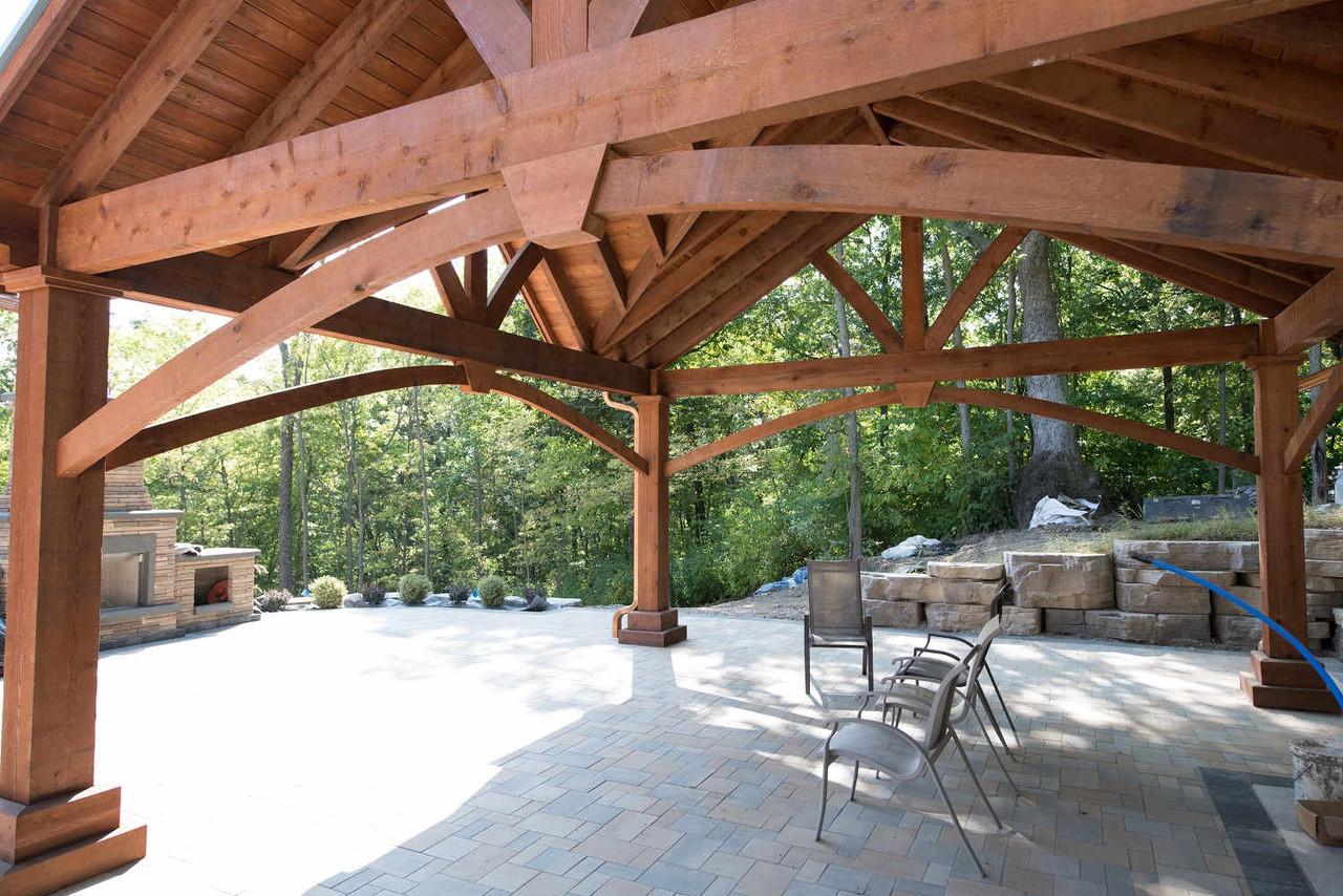 Arched Corner Braces on Triple Gable Grand Cedar Pavilion Kit, St. Charles, MO