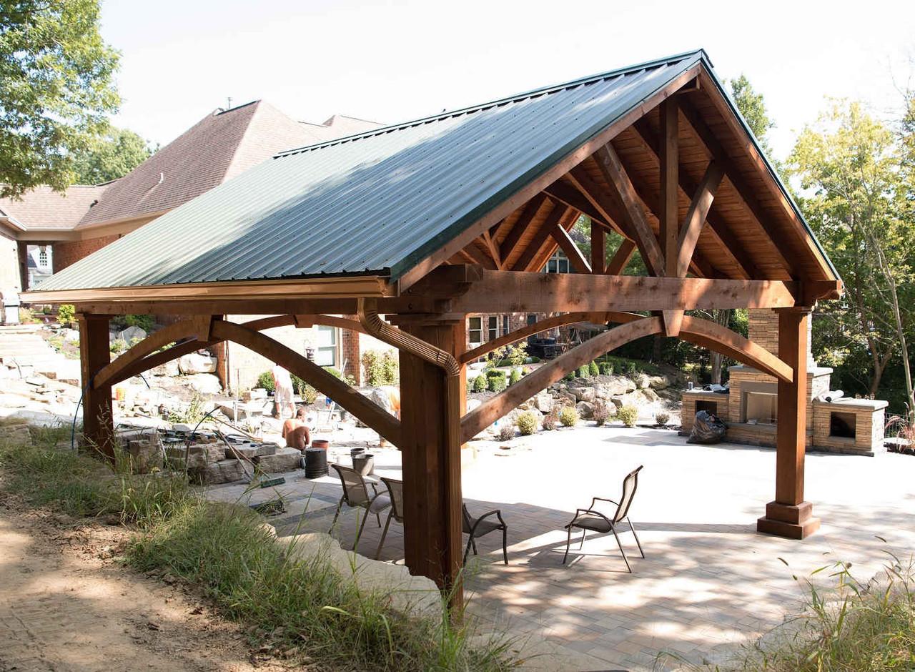 Hartford Green Metal Roof on 20x20 Grand Cedar Pavilion, St. Charles, MO