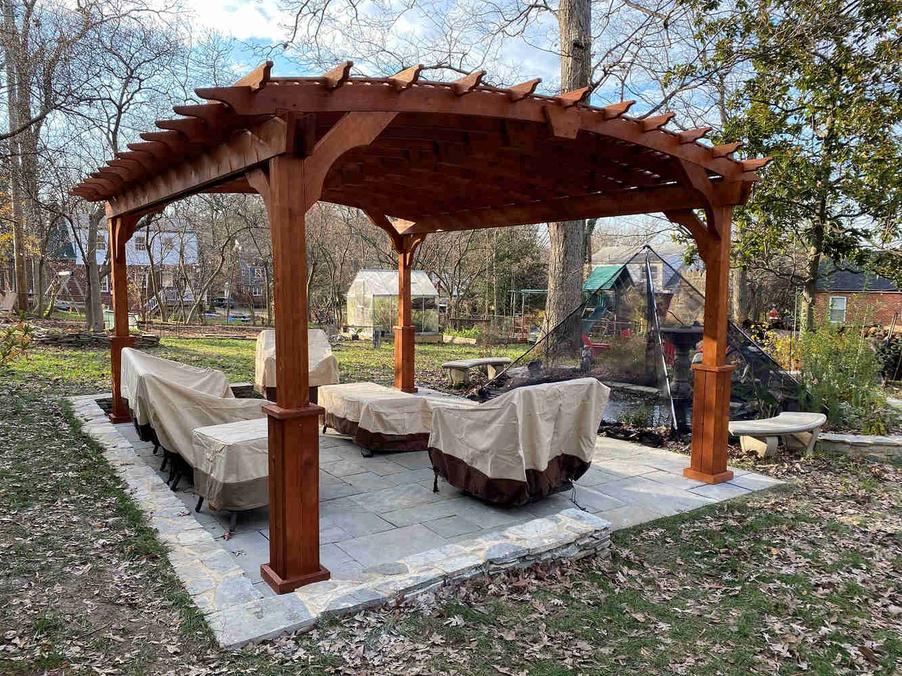 12x16 Arched Cedar Pergola Kit with Lattice Roof, Cheverly, Maryland