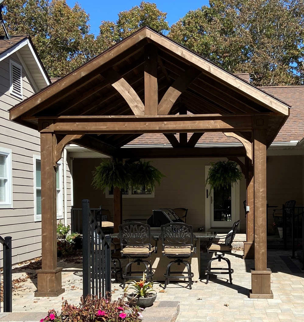 12x16 Gabled Roof Cedar Pavilion Kit, Fredericktown, Missouri