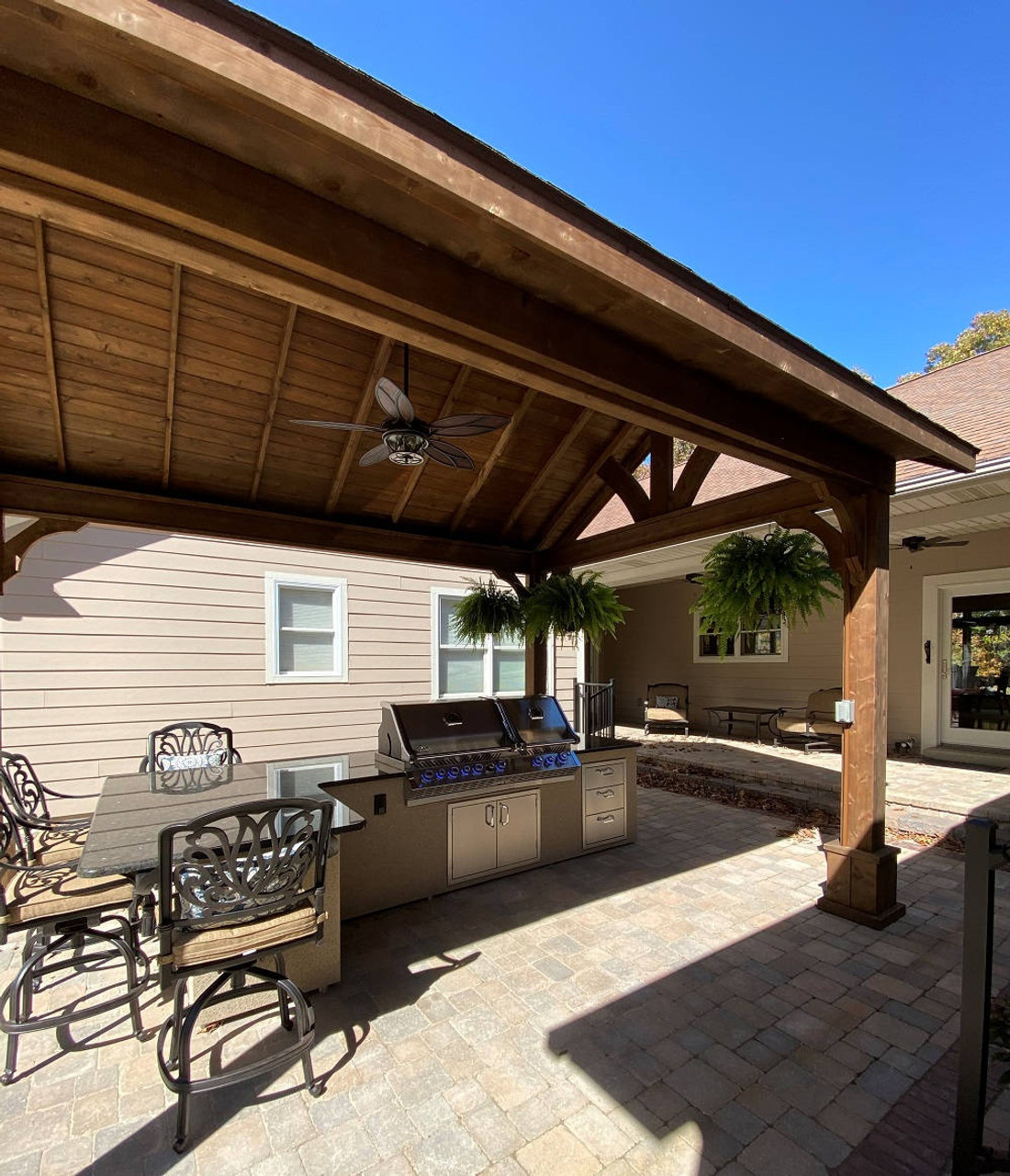 Cooking and Dining Under an Open Gable Cedar Patio Cover, Fredericktown, MO