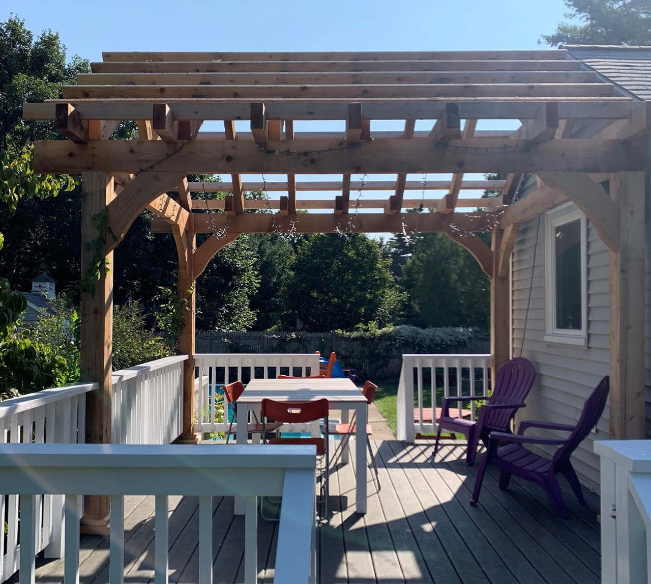 Custom Grand Cedar Pergola Over Deck, Medfield, MA