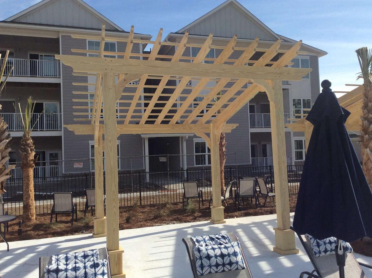 10x10 Classic Slant Roof Pressure Treated Pine Pergola Kit, Summerville, South Carolina