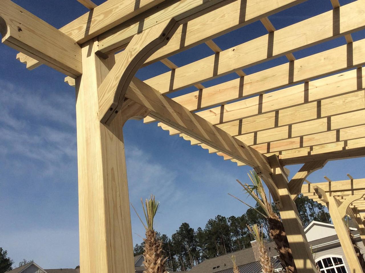 Corner Detail of 10x10 Classic Slant Roof Pressure Treated Pine Pergola Kit, Summerville, SC