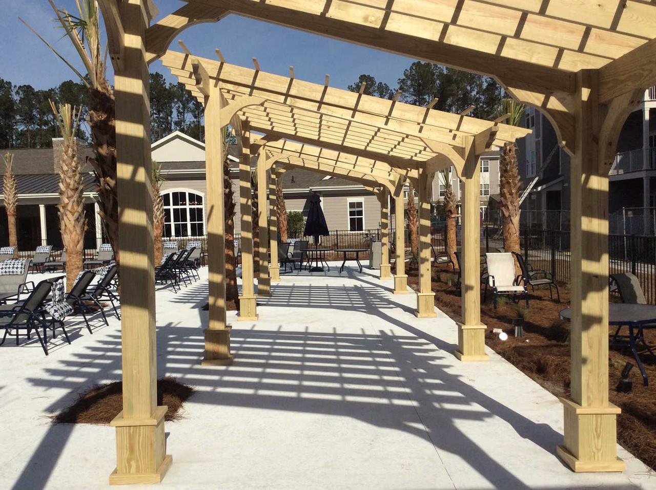 Three Poolside 10x10 Classic Slant Roof Pressure Treated Pine Pergolas, Summerville, SC