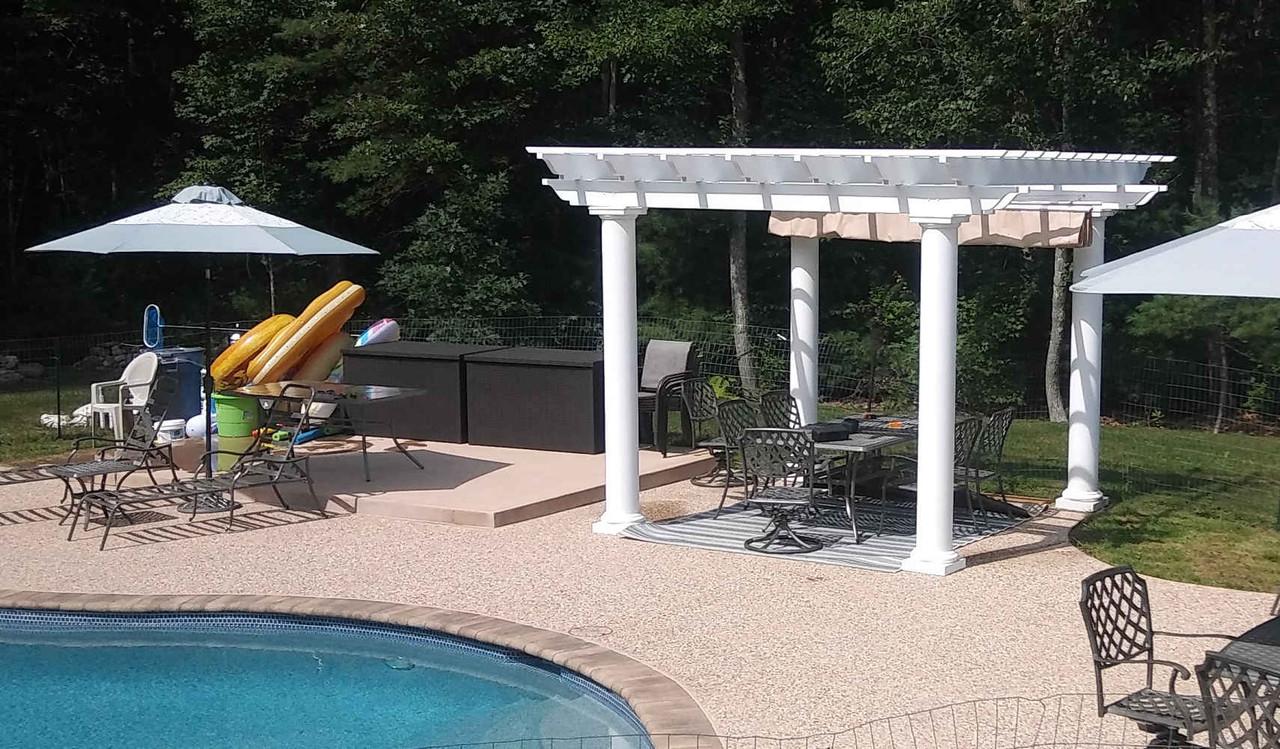 12x12 Fiberglass Pergola Kit with Retractable Canopy, Merrimac, Massachusetts