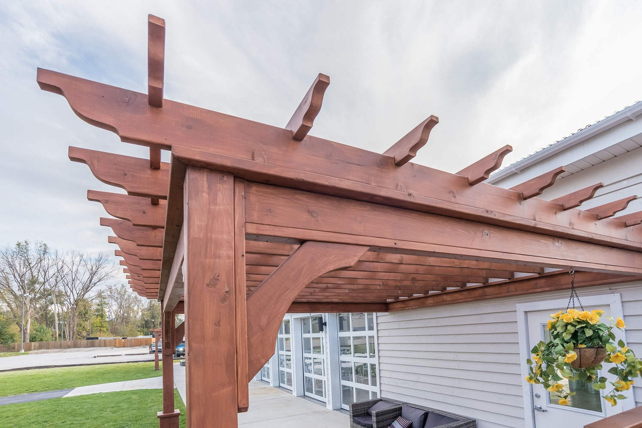 Notched Top Runners on Serenity Wall Mounted Cedar Pergola, Valparaiso, IN
