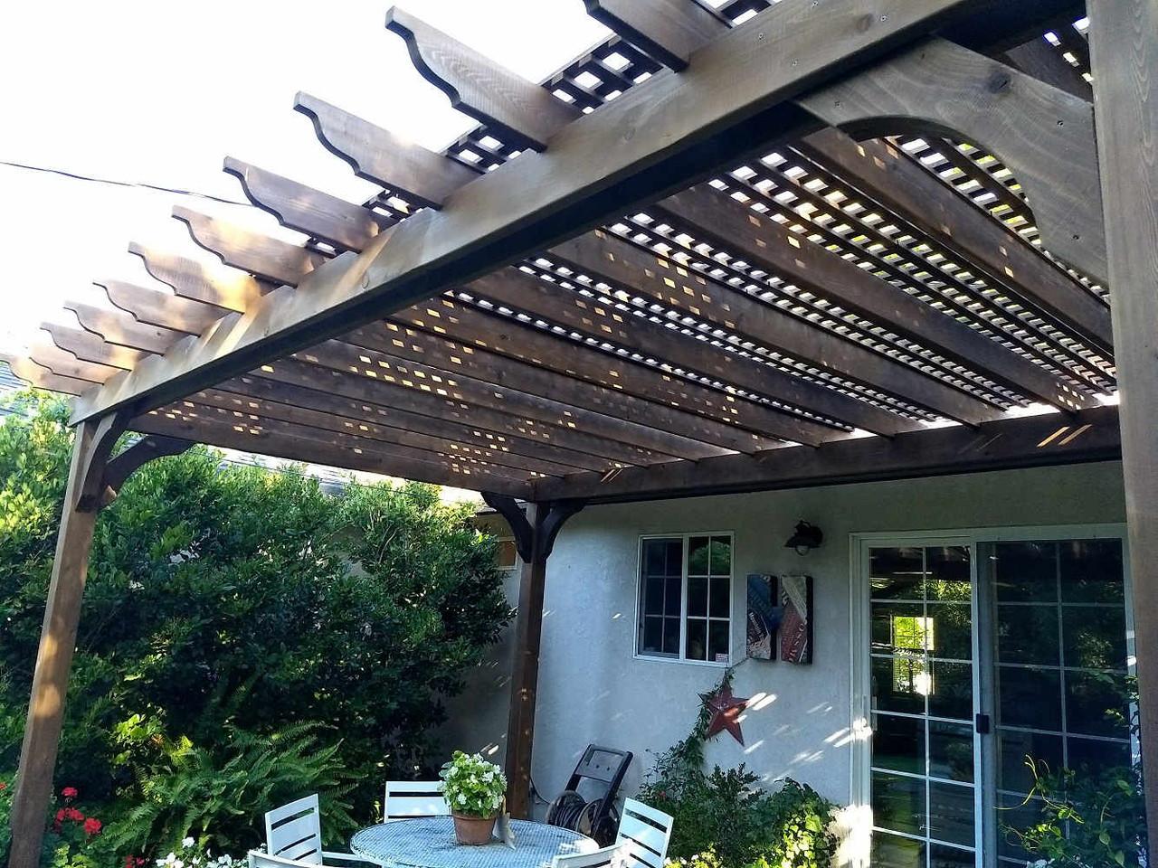 16x10 Classic Cedar Pergola with Lattice Roof, Lodi, CA