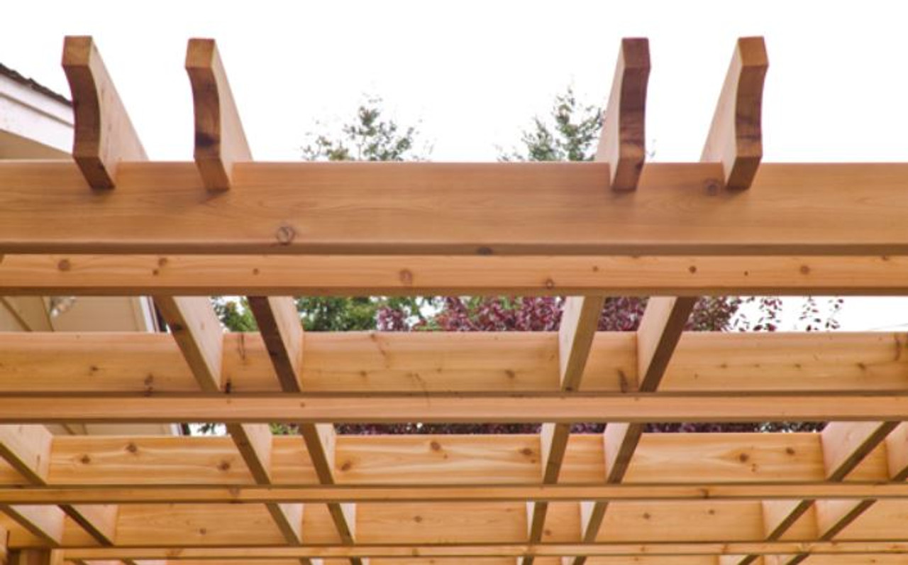 close up of cedar timbers and rafters
