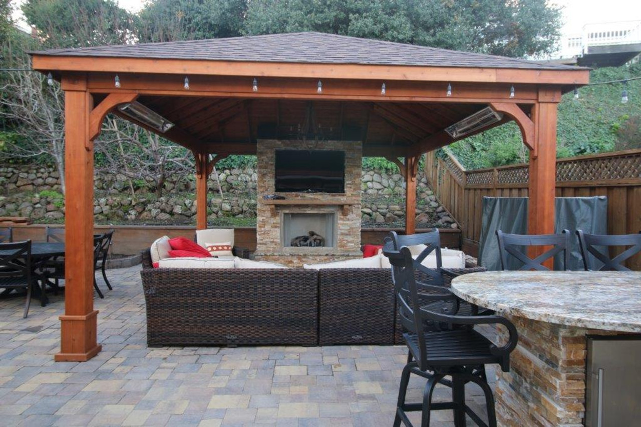 16x18 Red Cedar Pavilion Kit w/ TV an fireplace, San Mateo, CA