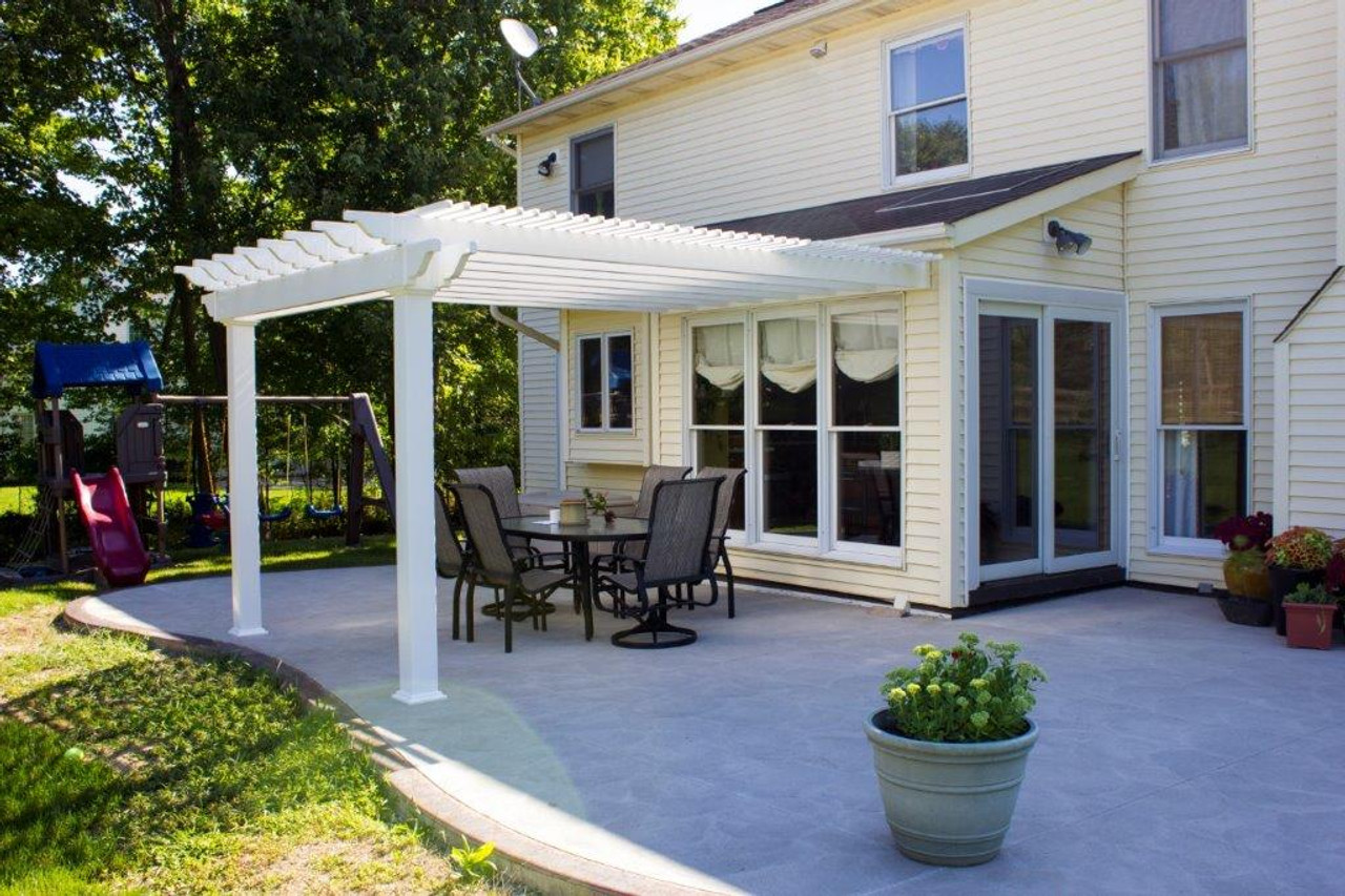 Newport Pergola PVC, Attached to house, Regular shade