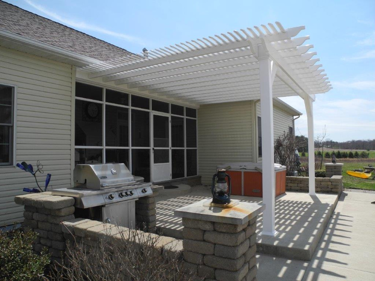 15x18 (roof span) Custom Newport PVC pergola design, Shademax, Attached to the house