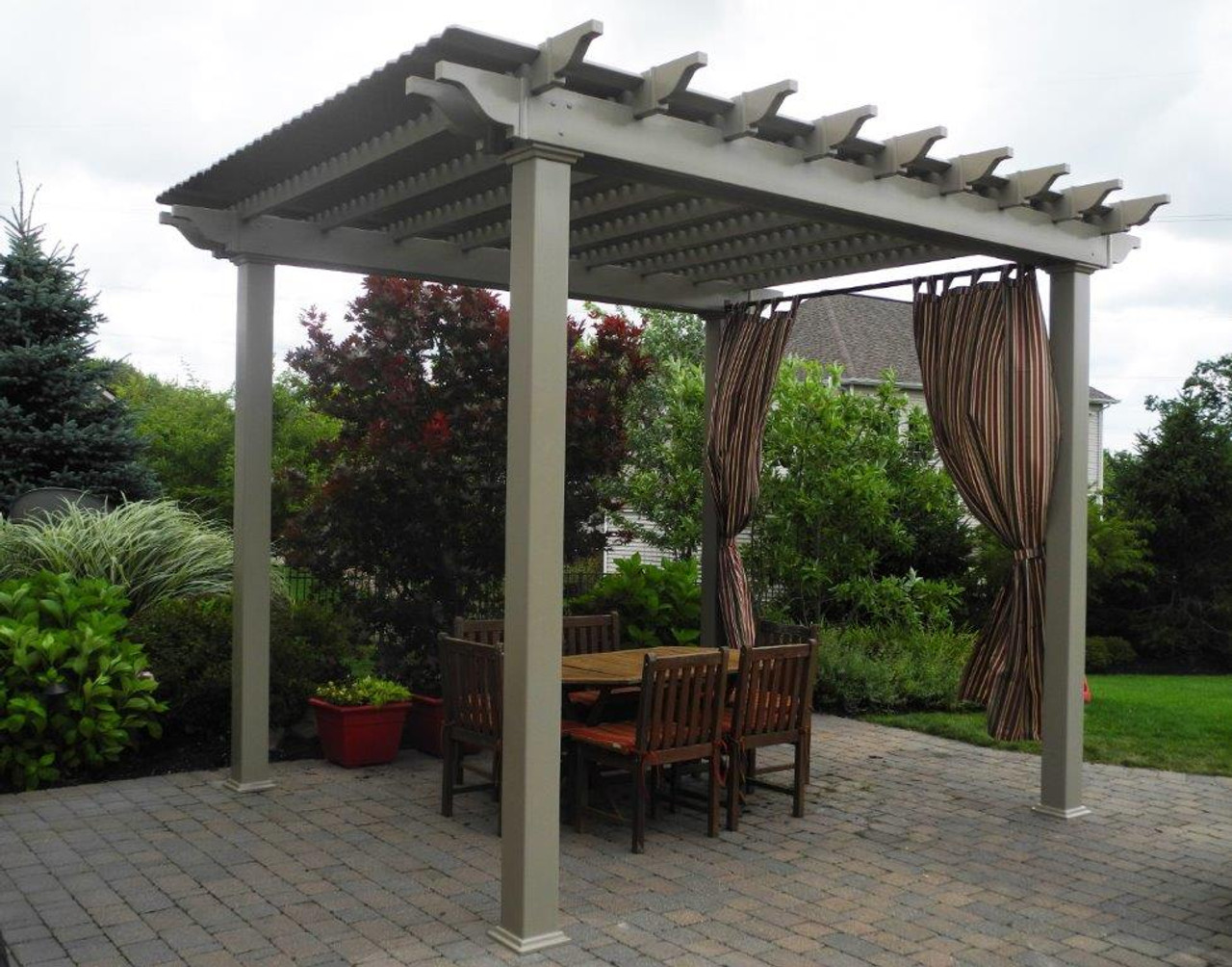 12x12 (roof span) Newport Pergola Kit, Clay color option, Shademax shade