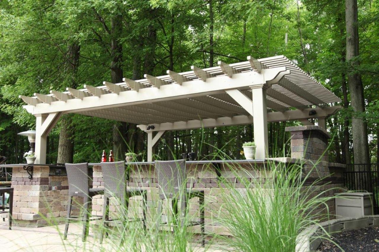 15x18 (roof span) Clay colored Newport Pergola Kit, Regular shade, corner braces