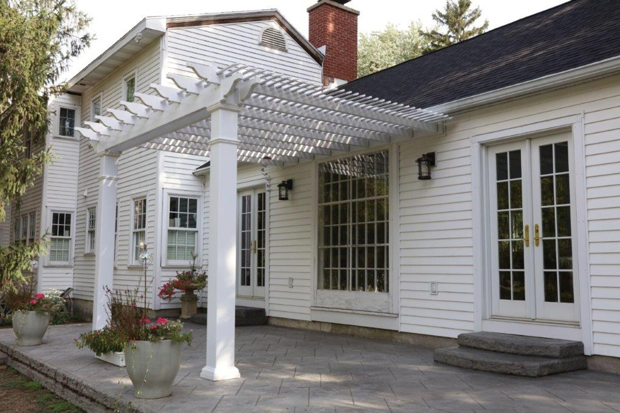 Vinyl Pergola Kit, Newport model, attached to house, 8x8 Square posts