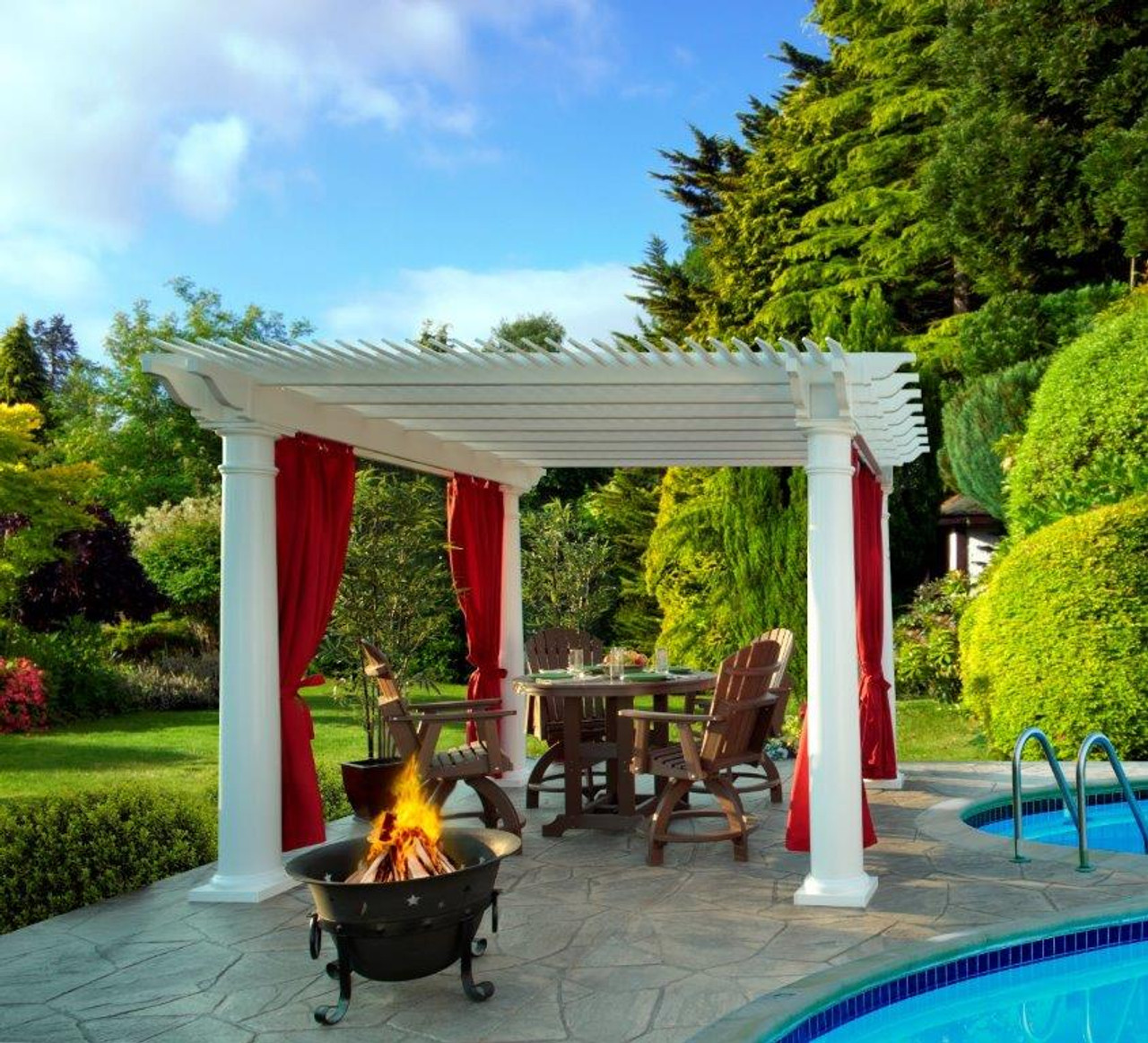12x12 (roof span) Newport Vinyl Pergola Shademax option, Round posts, curtains