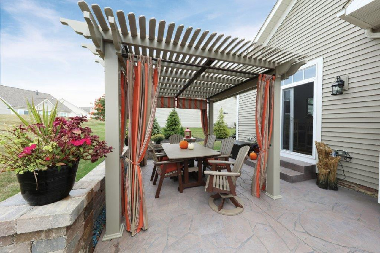Clay colored PVC (vinyl) pergola kit with side urtains, and shade
