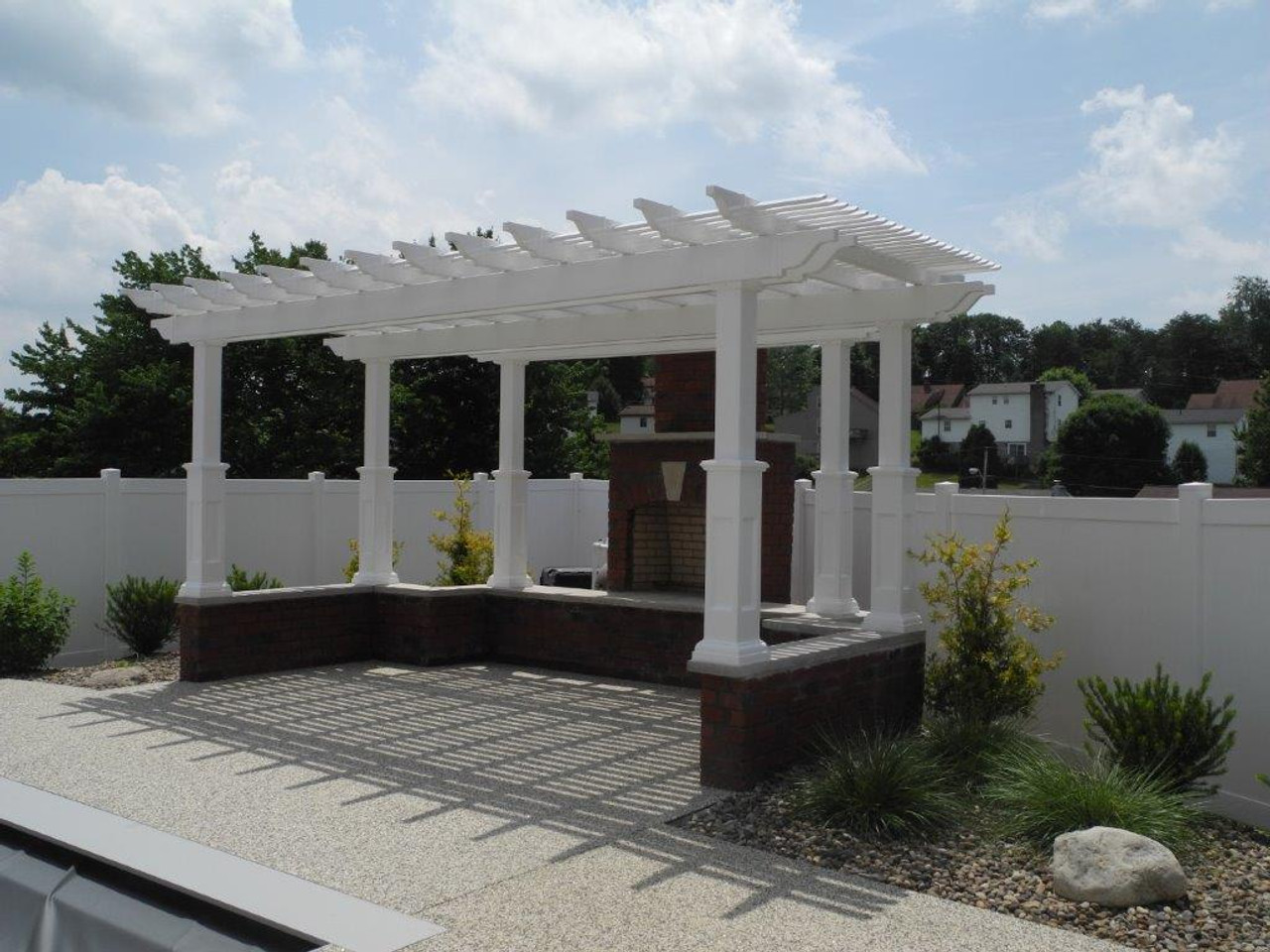 Custom Vinyl Pergola with 36in tall post bases, Shademax