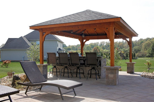 12x16 Patio Cover, Western Red Cedar, Rustic Black Asphalt Shingles, Cedar  Color Stain