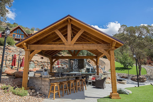 17x17 Grand Cedar pavilion, rough sawn Western Red Cedar, Maple color  Stain, Copperopolis - Pergola Kits USA.com