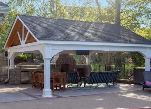 Beau 20x20 Vinyl Pavilion Gable Roof, 8x8 Posts, Engineered Beams To Span 20ft,  Heavy