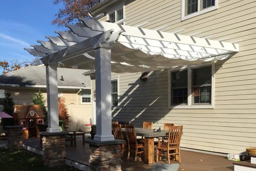 ... 10x13 composite fiberglass pergola kit / Wall-mounted / Retractable  fabric Infinity Canopy Pfifertex™ ... - Fiberglass Pergola Kit + Retractable Canopy Sunbrella™ Fabric