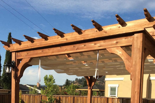Fiberglass Pergola Kit Retractable Canopy Sunbrella Fabric